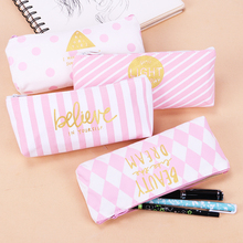 Korea Fresh Pink Series Canvas Pencil Case Stripes Dot Stationery Storage Bag School Office Supply Escolar Papelaria lovely food pizza fries canvas pencil case kawaii stationery storage organizer bag school office supply escolar papelaria