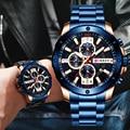 Мужские часы CURREN  модные роскошные мужские кварцевые наручные часы с хронографом из нержавеющей стали  мужские часы