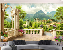 beibehang Custom size Modern decorative painting 3d wallpaper Roman column balcony town nature landscape background