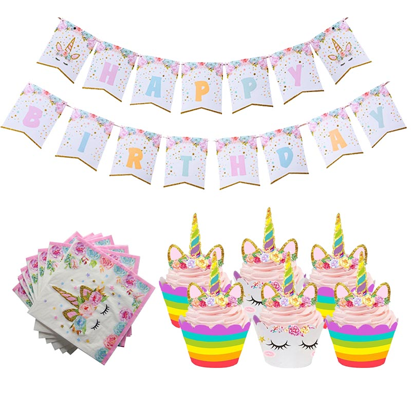 Unicorn Party Cupcake Topper Unicornio Aniversario Party Cake Wrapper Baby Shower Girl Kids Birthday Party Decoration Supplies