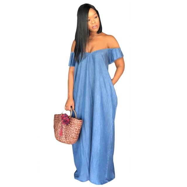 US $17.44 35% OFF|Casual Dress Women Long Denim Maxi Dresses Loose Jeans  Dress Off Shoulder Short Sleeve Plus Size Summer Beach Dresses-in Dresses  ...