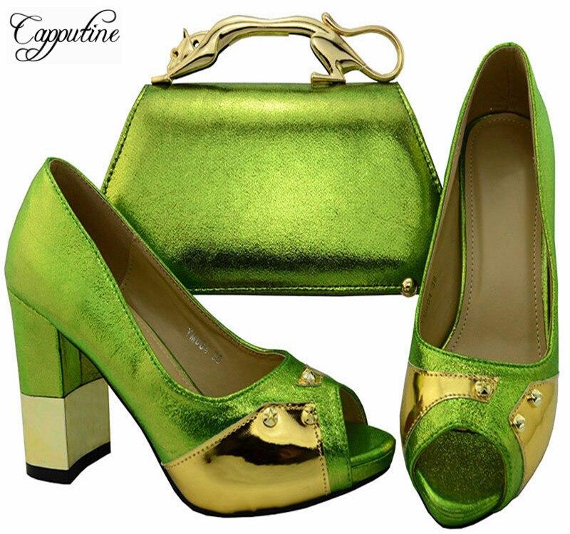 Capputine Хит продаж, итальянская обувь и сумка в комплекте в африканском стиле из искусственной кожи женские туфли-лодочки и сумка в комплекте ...