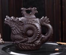 Tetera de Yixing Pequeña Elegante Dragón y Phoenix Olla 210 ml de arcilla púrpura hecho a mano tetera de kung fu tetera