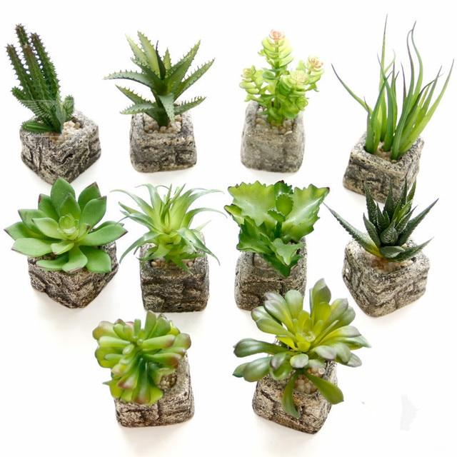 Small Potted Bonsai Mini Succulent Plants Succulents Set Flower Vase  Imitation Stone Flower Home Decoration Free