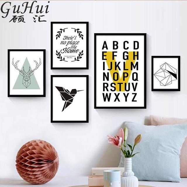 3 46 46 De Réduction Nordique Anglais Lettre Creative Murale Abstraite Géométrique Oiseaux Toile Peinture Salon Décor à La Maison Moderne Style