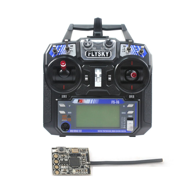 Original Flysky FS-i6 6CH 2.4G AFHDS 2A LCD Transmitter Radio System w/ FS-RX2A Pro Receiver for Mini FPV Racer RC Drone jmt kingkong et100 rtf brushless fpv rc racing drone with flysky fs i6 6ch 2 4g transmitter radio system mini quadcopter