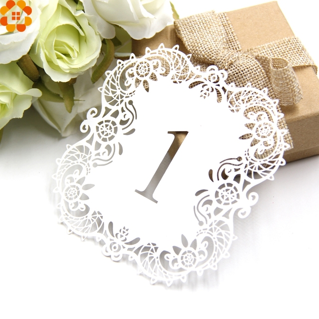 New10PCSSet Paper Card Wedding Table Numbers Table Cards Laser Cut
