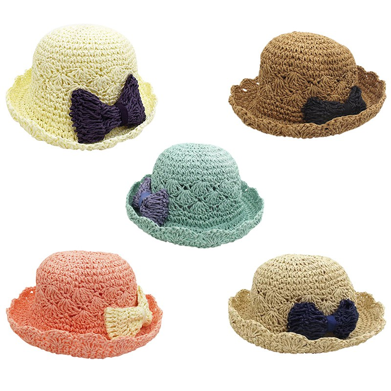 Ear Bow Straw Hats Baby Hats For Girls Bucket Hat Boys Cap Children Sun Summer Cap Kids  ...