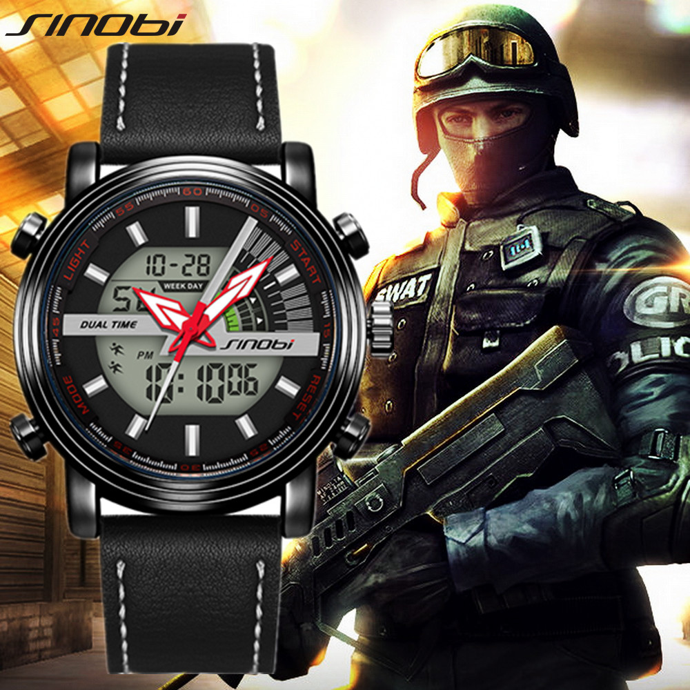 Sinobi Men Military Watch 50m Waterproof Wristwatch LED Quartz Clock Sport Male relogios masculino S Shock