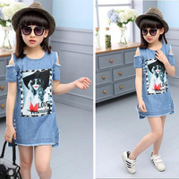 New 2017 Summer Cute Character Girl Denim Dresses Short Sleeve Off The Shoulder Children Casual Clothing