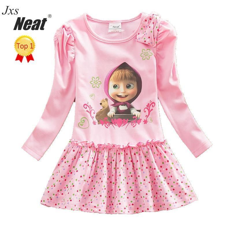 NEAT 2017 kiskereskedelmi kislány hosszú ujjú ruha divat rózsaszín nyomtatási minta pont íj lány 100% pamut ruha gyermek ruházat H5306