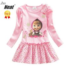 NEAT 2017 Retail baby girl long sleeve dress fashion pink print pattern dot bow girl 100% cotton dress children's clothing H5306