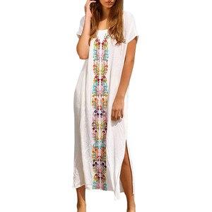 Женское платье Лето 2018 кафтан Пляж Купальники вышитые короткий рукав длинное платье drop jue7
