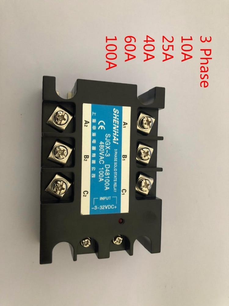 25A 40A 60A 100A SSR 3-фазный твердотельный релейный реле, от переменного тока до переменного тока твердотельный релейный реле 100A SSR трехфазный SSR 100A ...