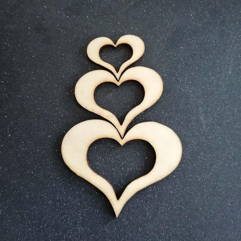 50pcs Hollow Wooden Heart Natural Blank Love Heart Wood Wedding Decorations DIY Crafts