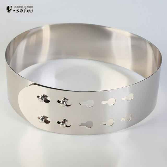 La hoja de espejo de metal sellado cintura oro alargado cinturones damas moda decoración ultra ancha correa de cuero K060