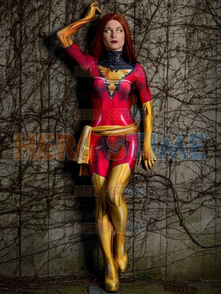 Dark Green Phoenix Cosplay Costume X-Men Jean Grey Bodysuit