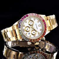 Reloj de lujo SOUTHBERG para Hombre, con fecha de cristal GMT, acero inoxidable, Reloj deportivo de cuarzo con diamantes de imitación para Hombre