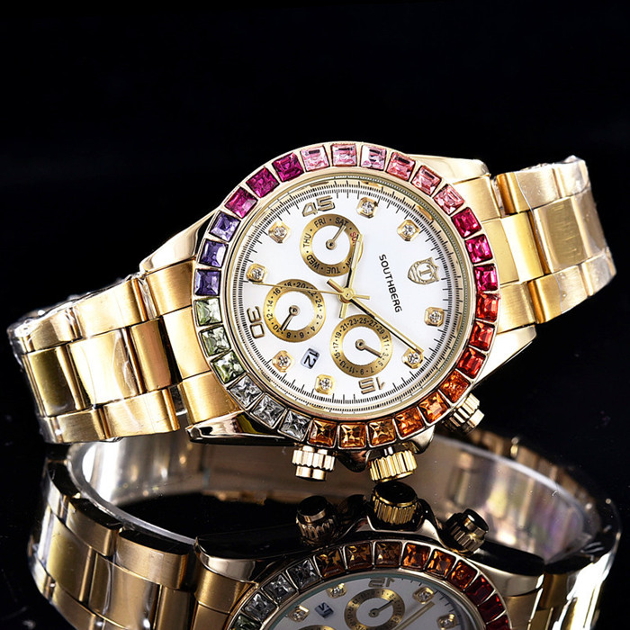 Luxury SOUTHBERG Watch Men  GMT Glass Date Stainless Steel Women Mens