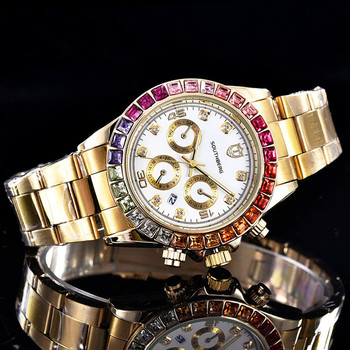 Luxury SOUTHBERG Watch Men GMT Glass Date Stainless Steel Women Mens Sport Quartz Color rhinestone Watches Reloj Hombre