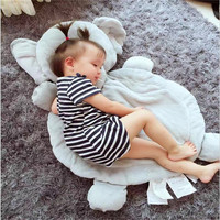 Gray Plush Elephant Children Play Cushion for floor Sofa Bed fox Multifunctional Cushions Sleeping Pad Mat Gift Toy Home Textile