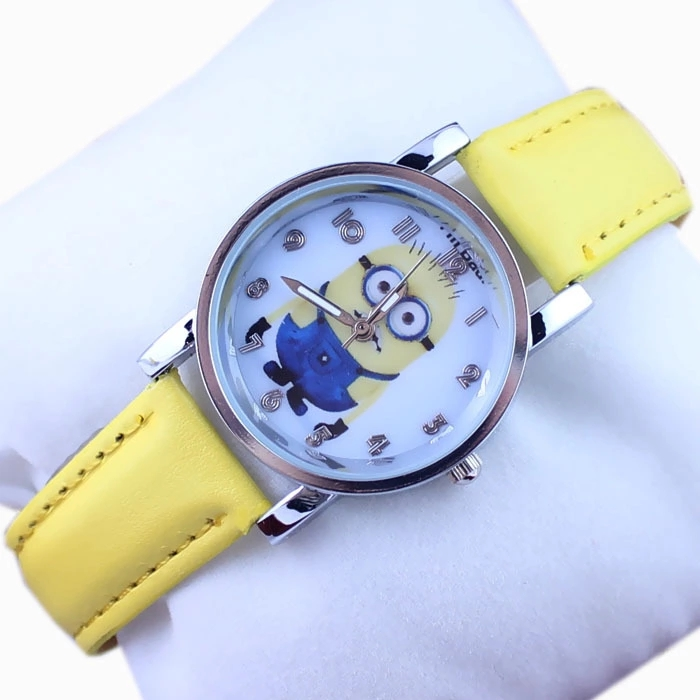 Popular Children's Cartoon Yellow Belt Quartz Watch Male And Female Students