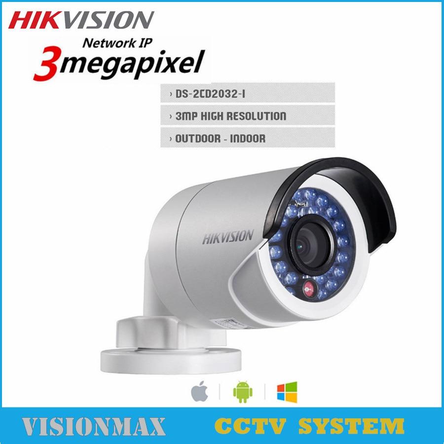 Hikvision 3MP HD IP CCTV PoE Camera DS-2CD2032F-I replace DS-2CD2035-I IP66 30m IR Video SD Card Night version Bullet camera newest hik ds 2cd3345 i 1080p full hd 4mp multi language cctv camera poe ipc onvif ip camera replace ds 2cd2432wd i ds 2cd2345 i