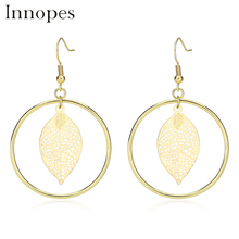 Innopes Indian woman fashion Vintage  round gold long tassel pendant earrings jewelry