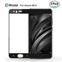 Xiomi Mi 6 2 unids/lote Nicotd 3D completa de la cubierta de vidrio templado para Xiaomi Mi 6 mi6 azul Protector de pantalla de vidrio templado para Xiomi Mi 6