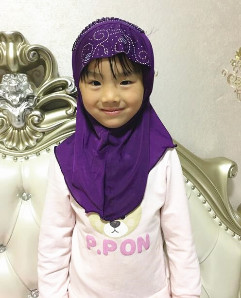H1077 new style small girl hijab with lace on back mixed colors fast delivery