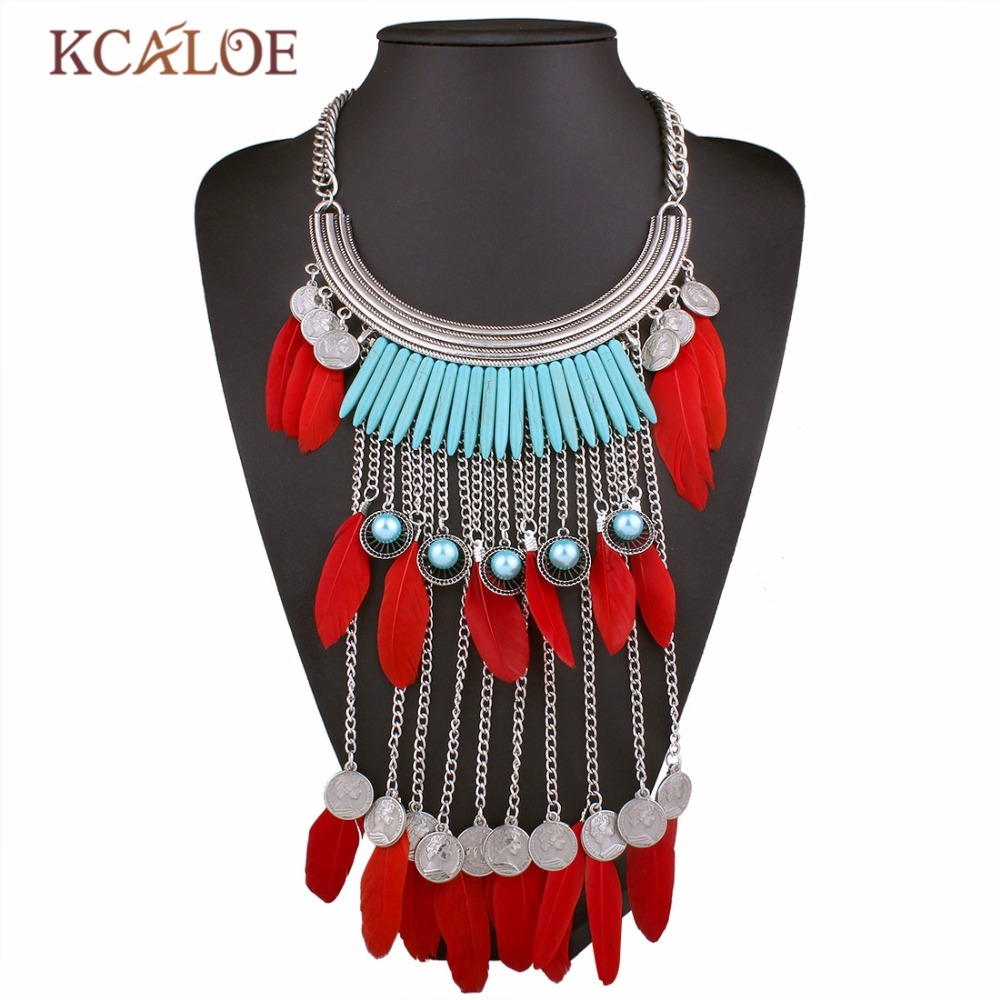 2017 New Alloy Feather Necklace Female Personality Retro Pendants Beads Faux  Pearl Multi Chain Statement Clavicle