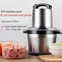 6L Stainless Steel Meat Grinder Chopper Automatic Electric Mincing Machine High quality Household or Commercial Food Processor