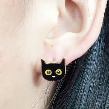 Сережки гвоздики черный кот 1