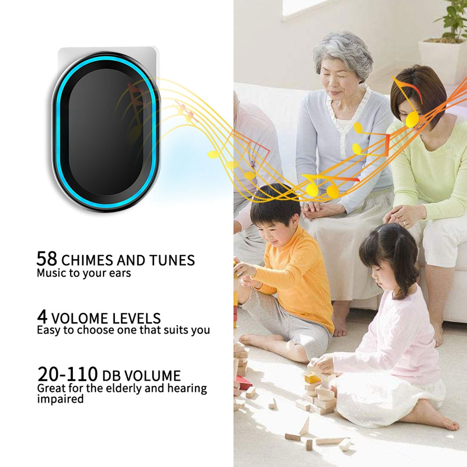 Image 4 - CACAZI Wireless Doorbell No Battery Required Waterproof 1 2 Transmitter 1 2 3 Receiver Self powered Ring Bell US EU UK AU Plug-in Doorbells from Home Improvement