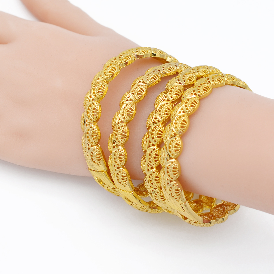 Image 4 - Anniyo 4Pieces/Openable Dubai Gold Color Women Bangles Ethiopian Bracelets&Bangles African Jewelry Arabic Middle East #211506-in Bangles from Jewelry & Accessories