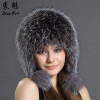 Women Winter Hat Earflap Real Fox Fur Cap Warm Genuine Fur Caps With Earflaps Female Raccoon Fur Hat Russian Bomber Hats Ushanka