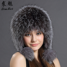 Women Winter Hat Earflap Real Fox Fur Cap Warm Genuine Fur C
