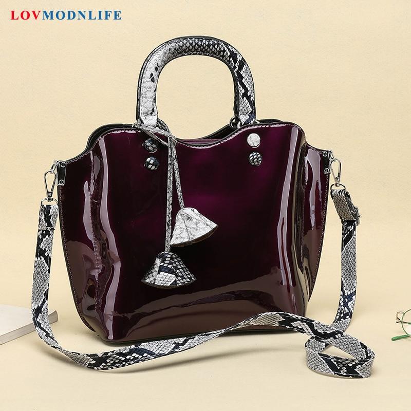Patent Leather Women Handbags 3 Sets Luxury Brands Tote Bag Ladies Shoulder Bag Snake Print Clutch Messenger Bags Bolsa Feminina in Shoulder Bags from Luggage Bags