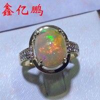 18 К золото инкрустированные Природный опал кольцо женские 9x11 мм