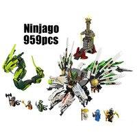 WAZ Compatible Legoe Ninjago 9450 LELE 79132 959pcs Blocks Ninjago Figure Epic Dragon Battle Toys For