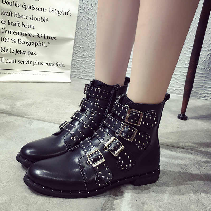 HOKSVZY Women Winter Shoes Black Studded Leather Buckles High Women Boots Mujer Ladies Shoes Size 42 Point Ankle Boot HYKL-6618