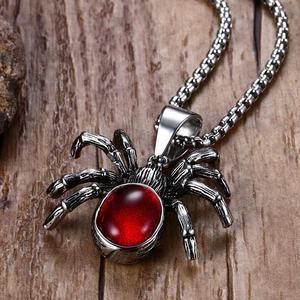 Мужское ожерелье из нержавеющей стали в стиле панк, винтажное Ретро, черное ожерелье с пауком, подвеска в готическом стиле, красный камень, м...