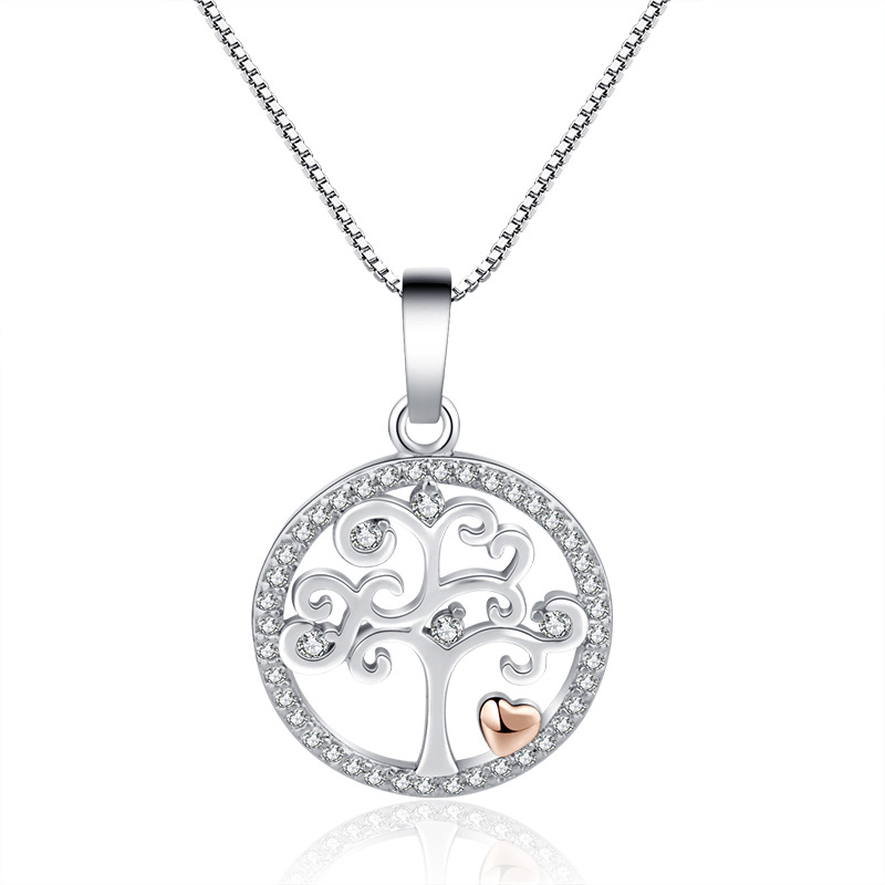 Luxury Crystal Tree of Life Round Pendant Necklace 925 Silver Heart Choker Necklaces Women Party Jewelry Bijoux Collier