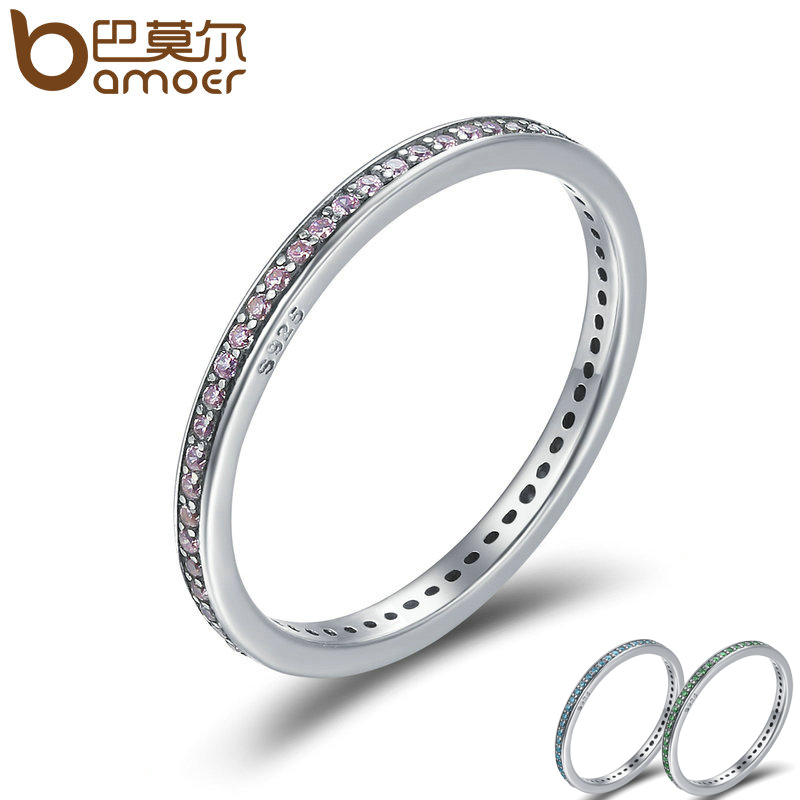 BAMOER Authentic 925 Sterling Silver 3 Colors Luminous CZ Round Female Finger Rings for Women Engagement Ring Jewelry SCR228