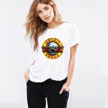 2019 Brand T Shirt Women Guns N Roses Bullet Logo White Cartoon Femme Graphic T-Shirt New Hip-Hop Rock Band Streetwear Tees Tops