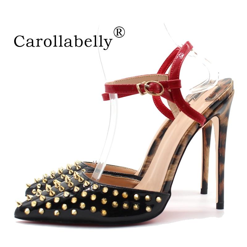 2019 nuevas mujeres verano 8/10/12cm tacones altos piel de oveja cuero genuino interior negro remaches sandalias zapatos con correas de tobillo-in Sandalias de mujer from zapatos    1