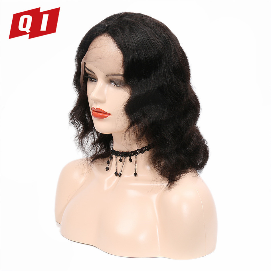 QI Hair 1 Pcs Natural Color Peruvian Remy 100% Human Hair Deep Wave Lace Frontal Wigs With Baby Hair 180% Density ...
