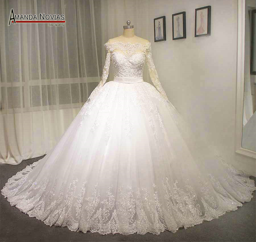Full Sleeve Wedding Gown: White Lace Dress Off The Shoulder Full Sleeve Wedding