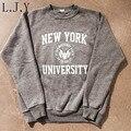 Nuevo de Las Mujeres Camiseta Ocasional Femme Carta Nueva York University Chándal Pullovers Harajuku Moleton Feminino