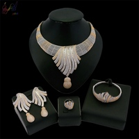 Yulaili Luxury American D Zircon Gold High Grade Stripes Design Four Jewelry Sets in Party Show For Classic Women